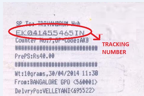 speed post tracking number